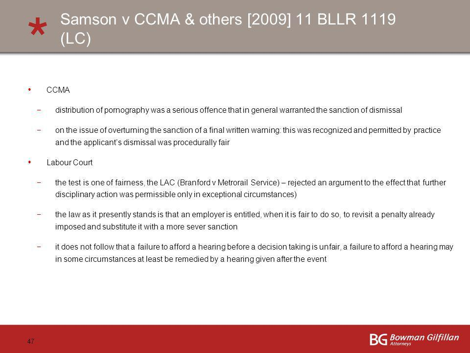 Samson v CCMA & others [2009] 11 BLLR 1119 (LC)